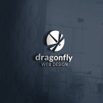 Metallic silver Dragonfly Web Design logo mockup on slate grey glass wall