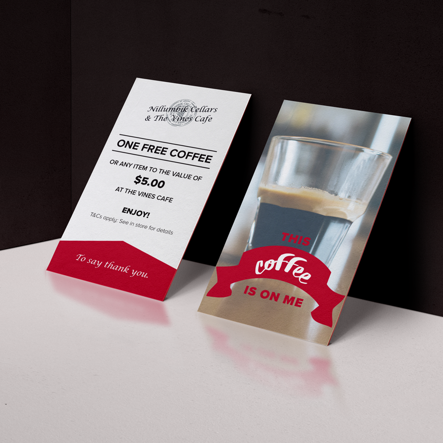 Promotional cards for Nillumbik Cellars. Pre-paid coffee cards.