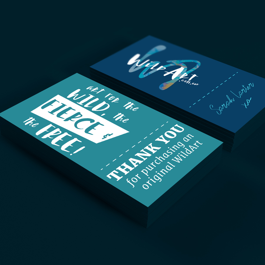 """Mockup of """"thank you"""" cards designed for WildArt. To be sent with purchases of artwork."""