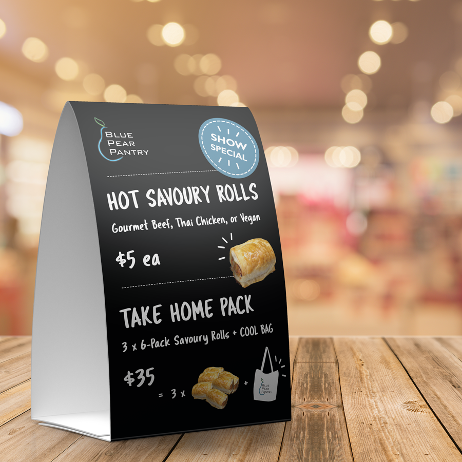 Mockup of price list designed for Blue Pear Pantry, makers or gourmet sausage rolls
