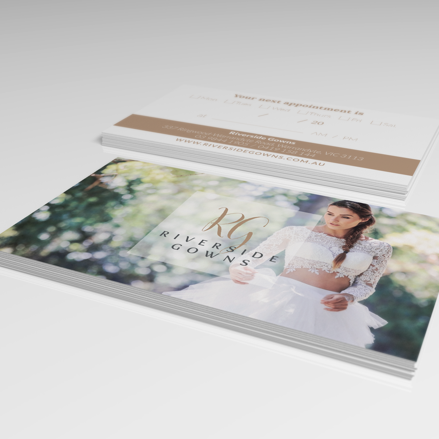 Appointment cards designed for Riverside Gowns, makers of custom-made wedding and formal gowns