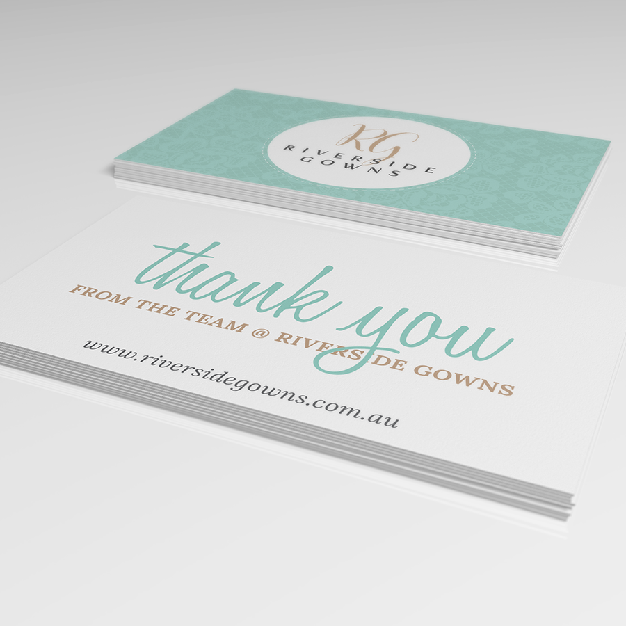 """""""Thank you"""" cards designed for Riverside Gowns to send with purchase"""