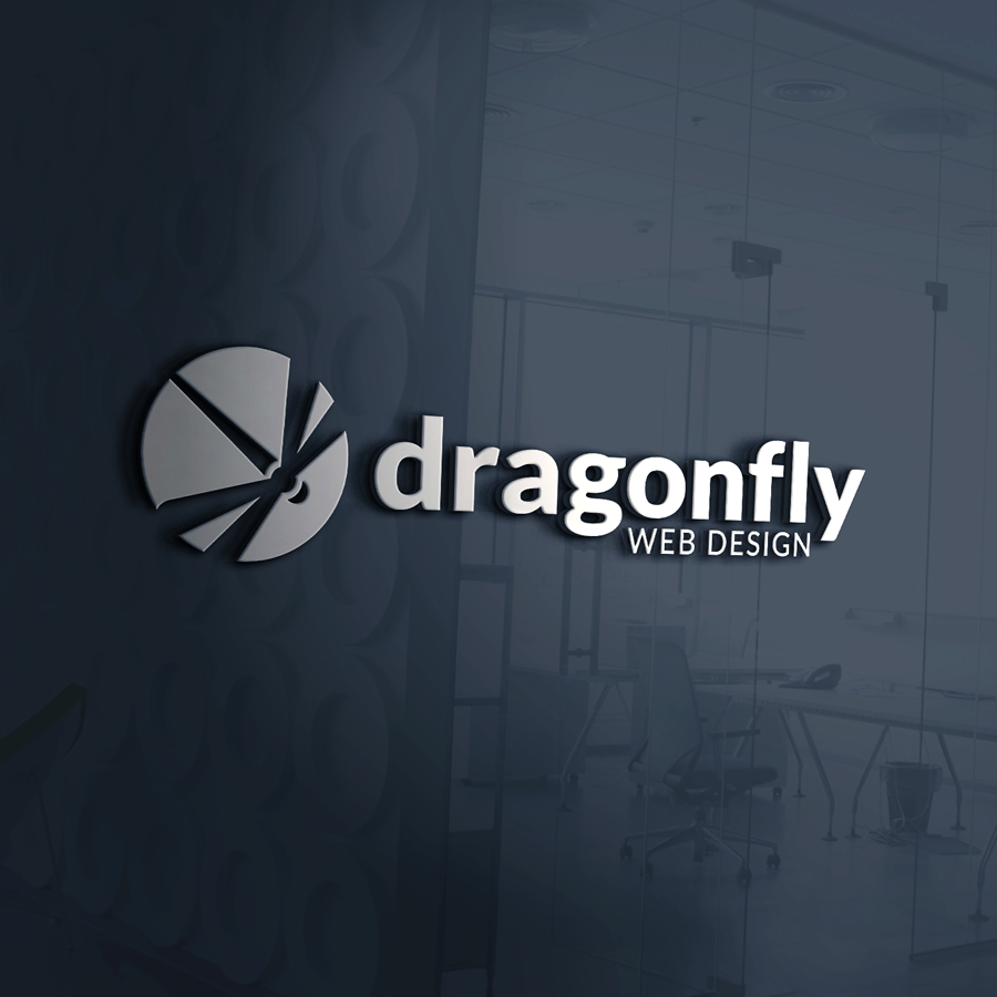 Mockup of logo designed for Dragonfly Web Design (3D metallic logo on grey tinted glass wall)