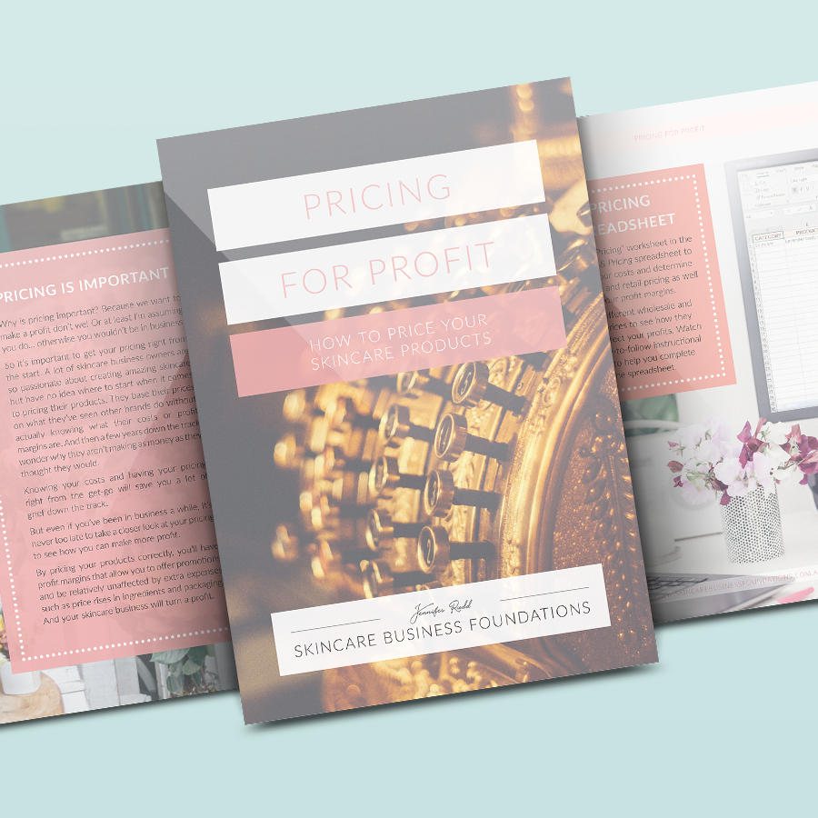 Mockup of the PDF e-book titled 'Pricing for Profit' by Skincare Business Foundations, showcasing design by Startled Squid Design Group. Shows three pages of the PDF including cover with antique gold cash register image overlaid with pink rectangles with white heading text.